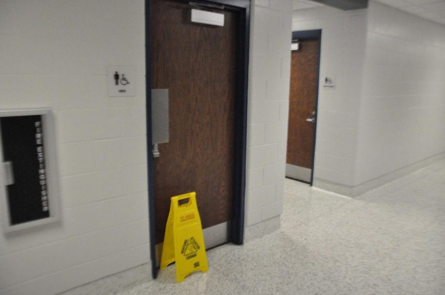 As of 10 a.m., today, October 2, the boys bathroom near the library remains closed for repairs to the sink. The sink had ran continuously since August 27, 2018. Photo by Joe Hacker