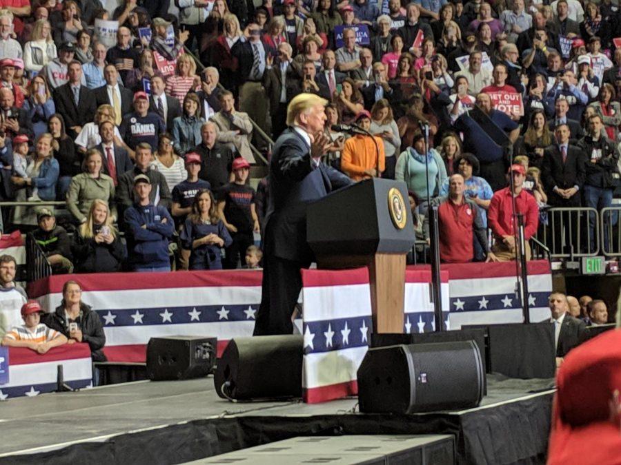 President Trump during his recent speech in Fort Wayne