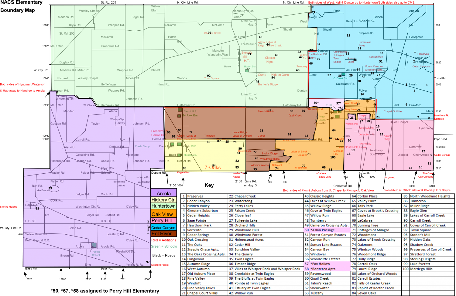The current elementary school boundary map for the district. The graph in the bottom right corner shows the included neighborhoods in each boundary.
