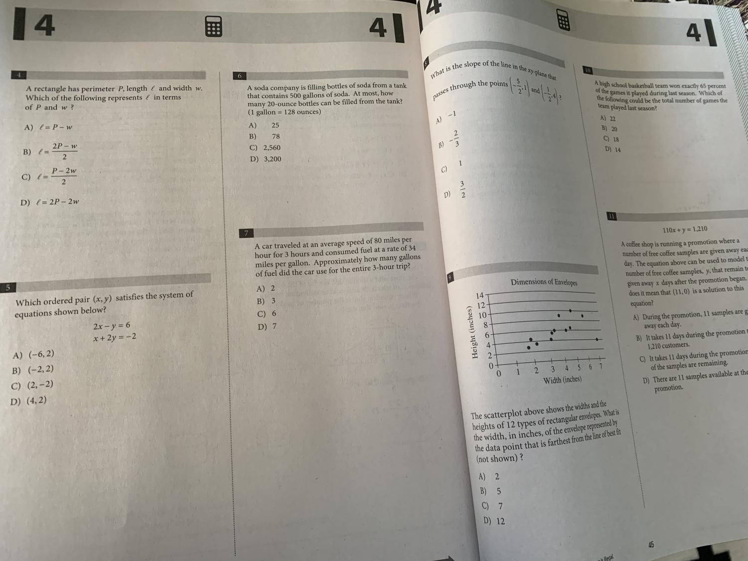 Pages of the PSAT prep book handed out to students weeks before the practice exam
