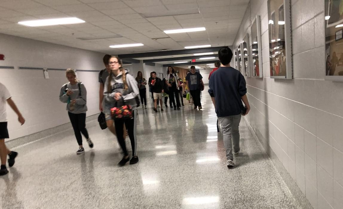 Students rush against the seven minute passing period to make it to class on time.