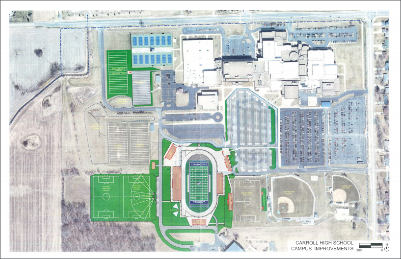 The new football complex will replace the 50-year-old stadium used currently. When it was built in 1969, the school had fewer than 1000 students. Currently, over 2300 students attend the school.