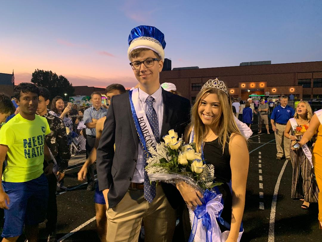 Homecoming King Pierce Brubaker and Homecoming Queen Raegan Leonard celebrate their coronation moments after their victory. Photo by Noah Johnson