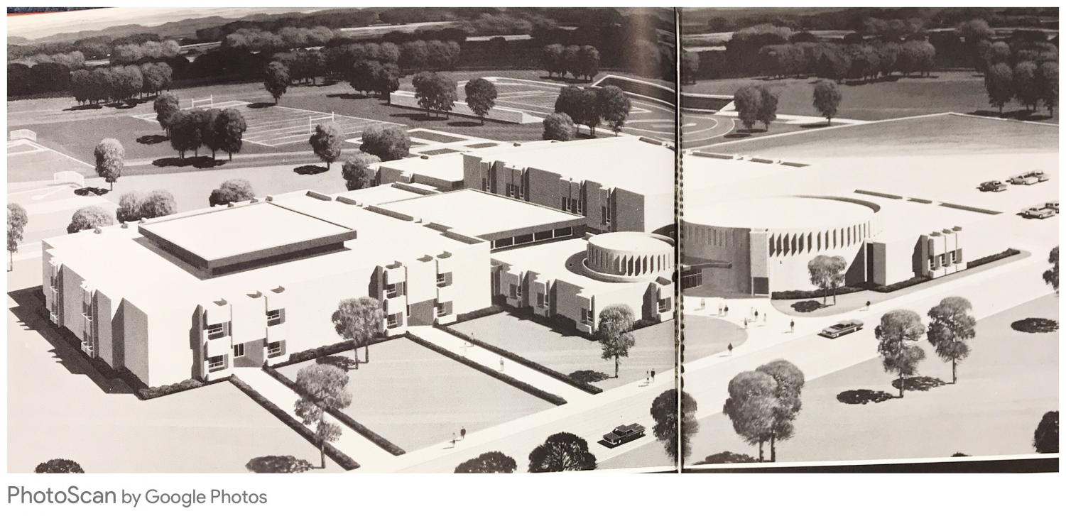 The school looked quite different in 1971 before the fieldhouse and the large auditorium were added in 2009.
