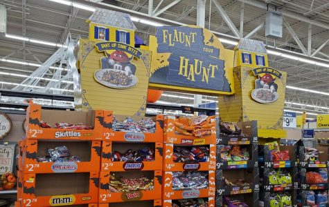 Halloween candy displays at a local Walmart attracts consumers to buy
