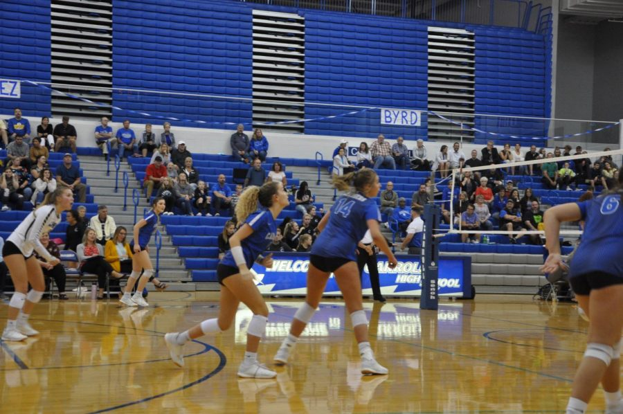 Seen here last season, the volleyball team has been working together to practice during this year's time of COVID-19.