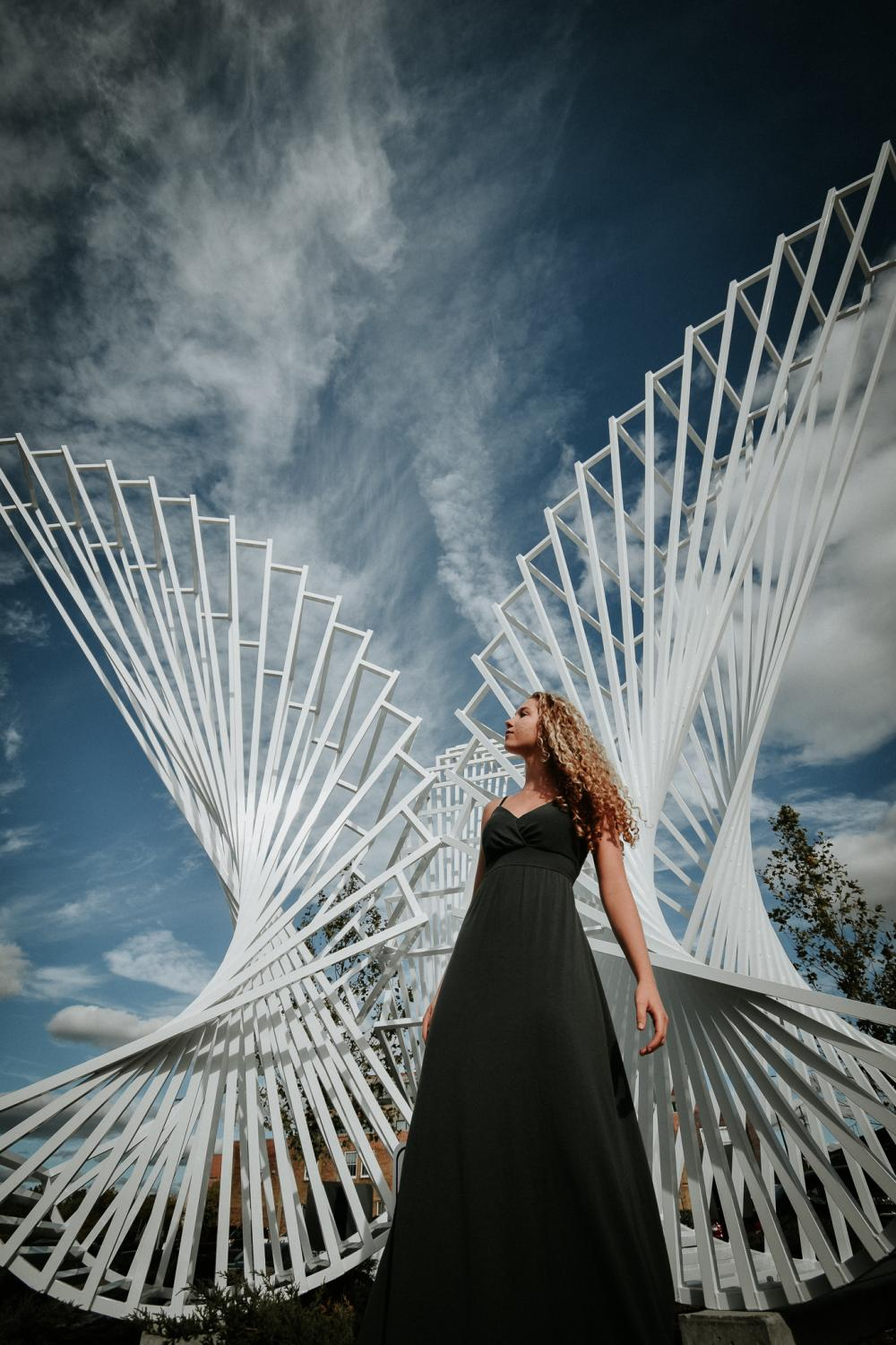 Student photographer Sabine Croy used the new Promenade Park as a backdrop for Abby Main's senior photos. Sabine has been self-employed photographer for few years.