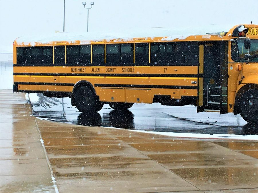 Bus 17 waits to load students to take home after school. Photo taken by Ashlyn Rinehart