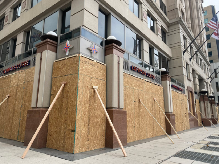 Businesses in Washington D.C. boarding up to prepare for the election riots